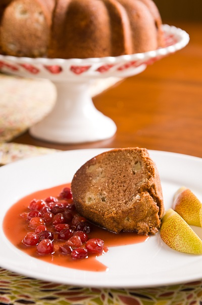 Pear Spice Cake With Warm Cranberry Caramel